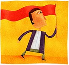 A man waving a long red banner flag