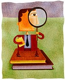 A businessman standing on two books and looking through a magnifying glass