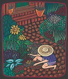 A woman gardening in her front yard on the path