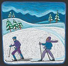 Two people cross country skiing (thumbnail)