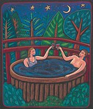 A couple toasting each other with wine in the hot tub under the night sky
