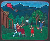 Children playing with a kite and their grandmother in the backyard