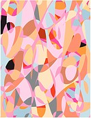 An abstract pink, black, brown and blue contemporary art pattern