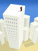 A businessman about to jump off a tall building