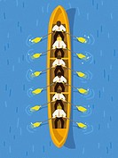 Businessmen rowing a long boat