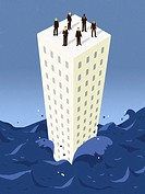 Businessmen standing on top of a building surrounded by water