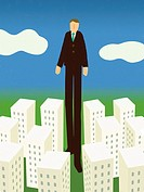 A businessman taller than all the buildings in a city