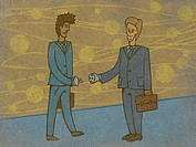 Two businessmen shaking hands that are a plug and a socket (thumbnail)