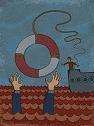 A businessman throwing a life preserver to another businessman overboard