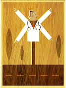 A doctor with four arms pointing in different directions like road sign (thumbnail)