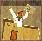 A physician holding documents in the air and standing up from inside a large file folder