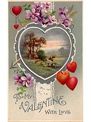 A vintage Valentines card with an idyllic country scene,hearts and violets