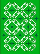 A retro green and white stars and circles pattern