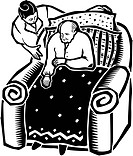 A nurse helping an old man in an armchair