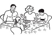 A family eating a meal together