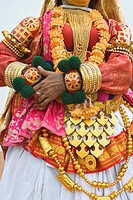 Close_up of a person kathakali dancing