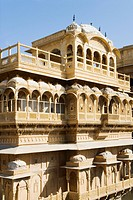 Low angle view of a fort, Jaisalmer Fort, Jaisalmer, Rajasthan, India