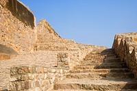 Low angle view of the staircase of a fort, Golconda Fort, Hyderabad, Andhra Pradesh, India