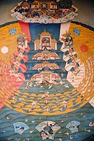 Mural on the wall of a monastery, Bodhgaya, Gaya, Bihar, India