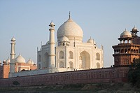Low angle view of a mausoleum and a mosque, Taj Mahal, Agra, Uttar Pradesh, India