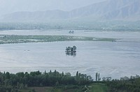 High angle view of a lake, Dal Lake, Srinagar, Jammu And Kashmir, India