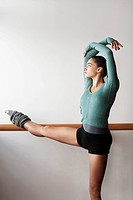 Ballet Dancer Stretching at bar (thumbnail)