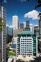 Downtown Toronto skyline from rooftop of Rosemont Theater District, CBD, Toronto, Ontario, Canada, 2008