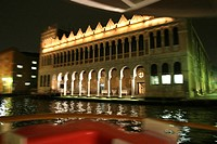 On a boat at Palazzo Fondaco de Turchi, Vaporetto on the Canale Grande, San Croce, Venice, Italy