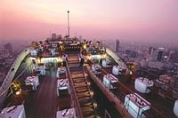 The Restaurant Vertigo on the roof deck of Hotel Banyan Tree in the evening, Bangkok, Thailand