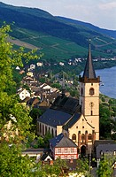 View of Lorch and the river Rhein, St. Martins church in the foreground, Rheingau, Germany