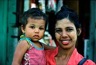 Mother and girl with Thanaka paste, Rangoon, Myanmar, Asia