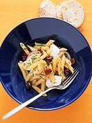 Pasta salad with artichokes, olives and buffalo mozzarella