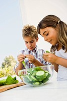 Girl and boy preparing salad out of doors