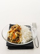 Mince with carrots, onions and rice