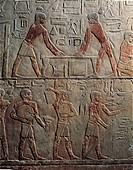 Egypt - Cairo - Ancient Memphis. (UNESCO World Heritage List, 1979). Saqqara. Necropolis, 5th Dynasty. Funerary mastaba of Ti. Painted relief of carpe...