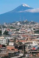 Mexico - Puebla State - Panoramic view of Puebla with the Volcano Popocatepetl in the background