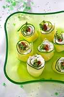 Cucumber rolls filled with soft cheese
