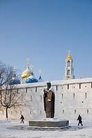 Russia - Golden Ring - Sergiev-Posad. Trinity Sergius Lavra (Troitse-Sergiyeva Lavra, founded 14th century, UNESCO World Heritage List, 1993). Statue ...