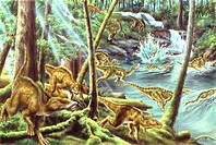 Illustration of Secernosaurus dinosaurs running through river in forest