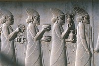 Iran - Persepolis. UNESCO World Heritage List, 1979. Reception Hall 'Apadana'. Relief of tribute bearers