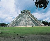 Pyramid on a landscape, Pyramid Of The Magician, Uxmal, Yucatan, Mexico