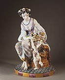 Ceramics - France - 19th century. Statuette. Girl and Cupid. Biscuit porcelain. Manufacturer Lethu-Mauger, L'Isle Adam, 1870