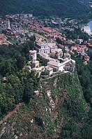 Italy - Piedmont Region - Varallo (Vercelli province). Sacro Monte. UNESCO World Heritage List, 2003. Aerial view