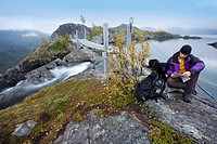 Scandinavia, Norway, Rago national_park, waterfall, river bed, landscape, hikers, sitting