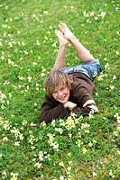 Meadow, boy, cheerfully, lying, people, 11 year, child, childhood, barefoot, full_length, prone position, relaxation, enjoying, spring, spring_meadow,...