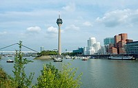 Germany, North Rhine_Westphalia, Düsseldorf, television_tower, Neuer Zollhof, river Rhine bridge media_harbor sight tower, Rhine_tower, Architect H. D...