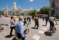 Zebra Crossing, on bacground Palacio De Comunicaciones, Plaza de Cibeles, Madrid, Spain