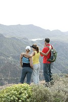 spain, mountain_hiking, tourists, stands, hikers, nature, panorama