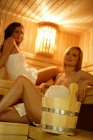 Women, sitting, sauna, smiling, unclearly, wellness