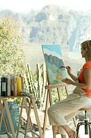 Woman, paints, easel, studio, sitting